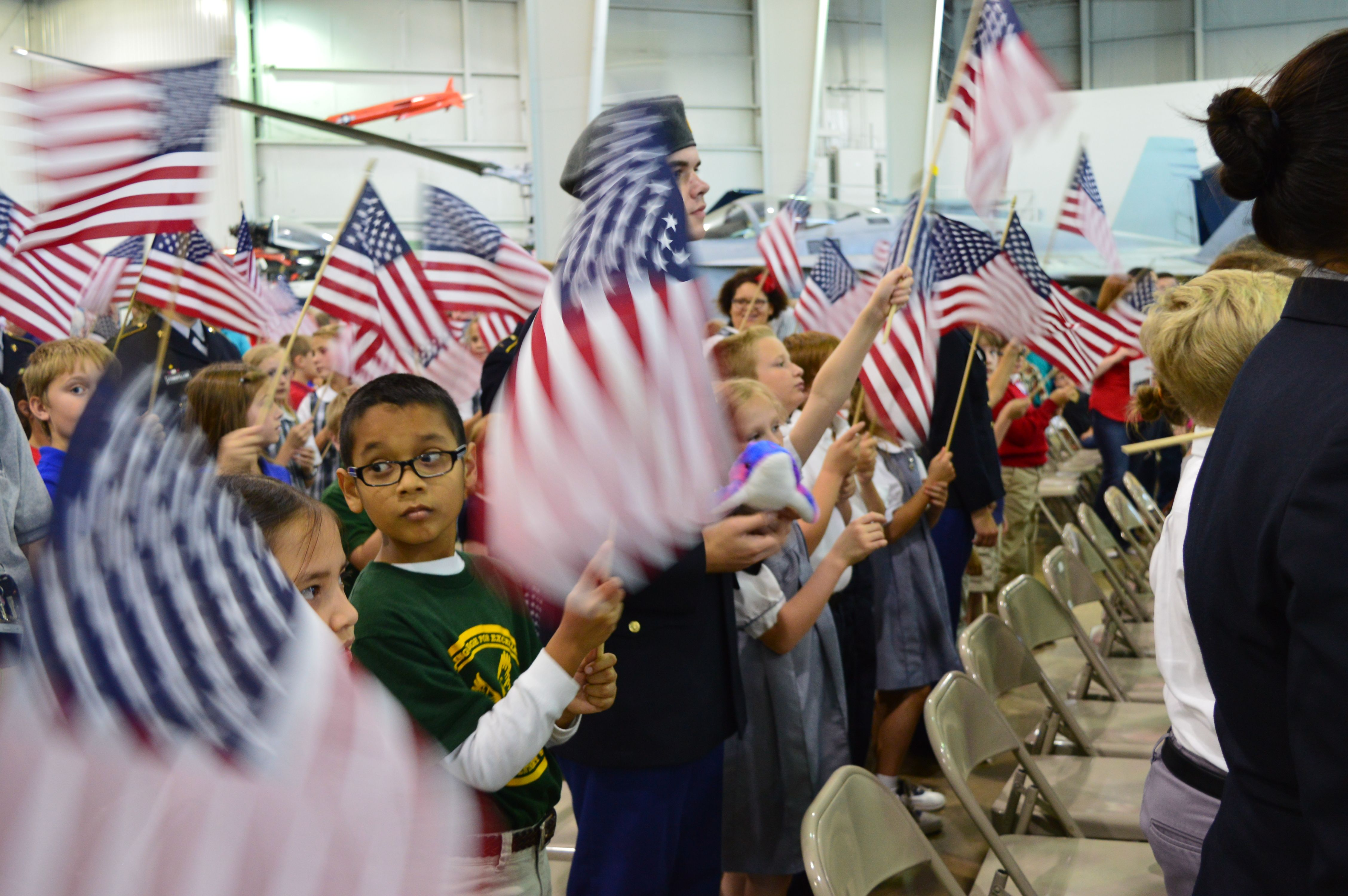 Local fourth grade students have the opportunity to join us for our annual Parade of Flags.