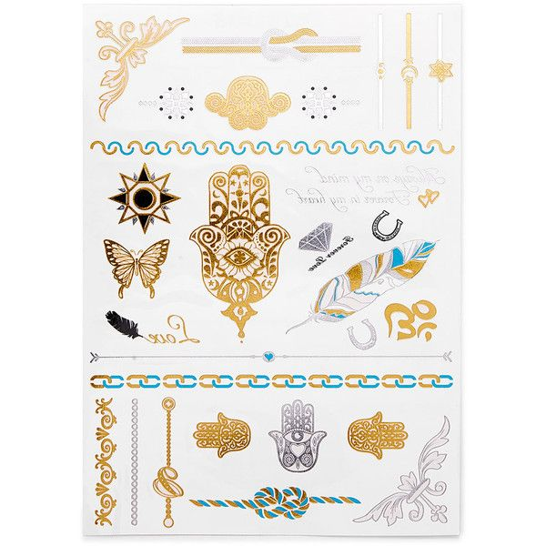 SheIn(sheinside) Multi Shaped Tattoo Sticker (16 RON) ❤ liked on Polyvore featuring accessories and body art