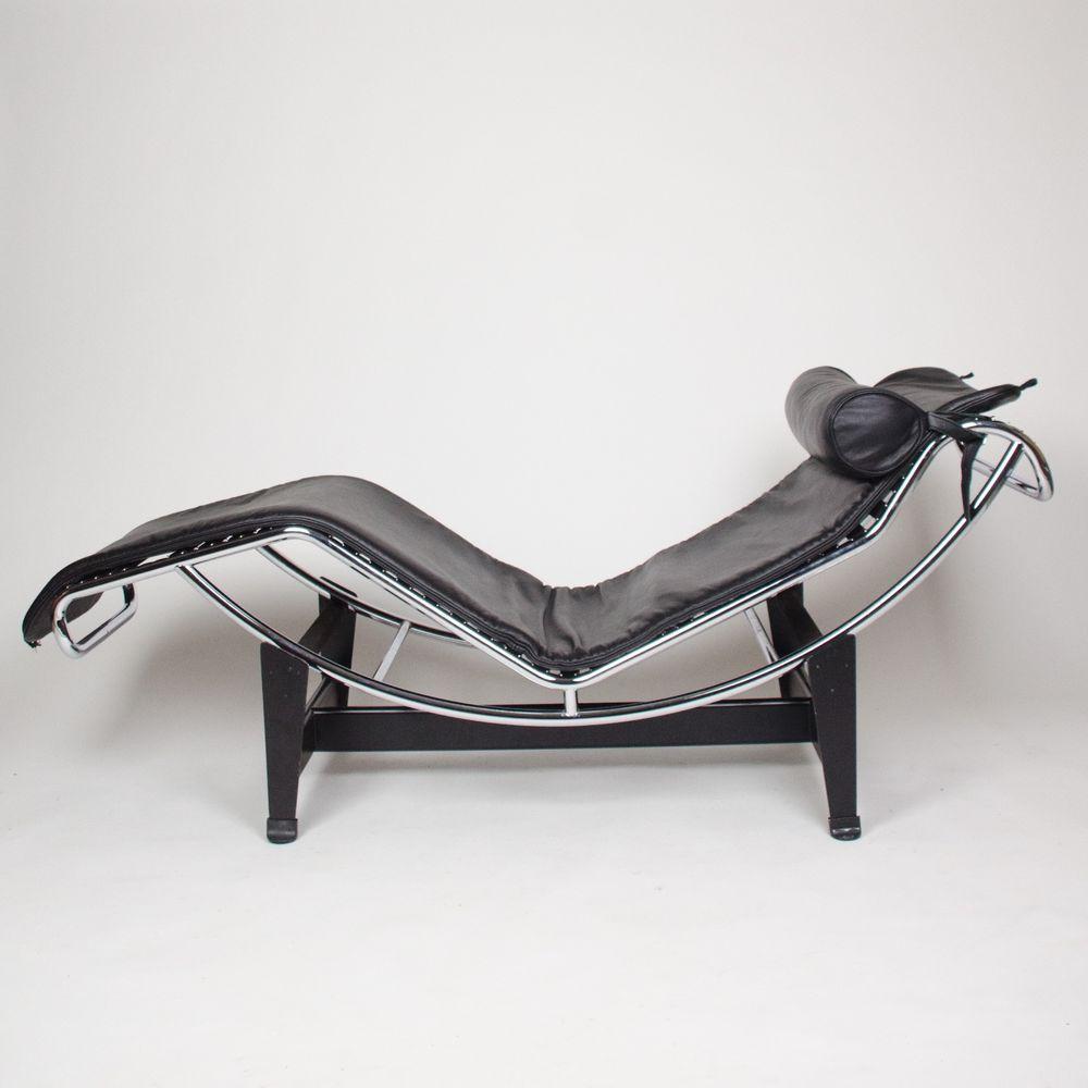Recent Original Le Corbusier Cassina LC4 Chaise Lounge Chair Black Leather  Knoll
