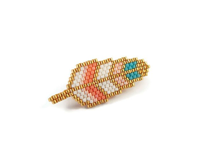 Favori Broche plume en perles Miyuki ☆ corail et turquoise | Miyuki  GG16