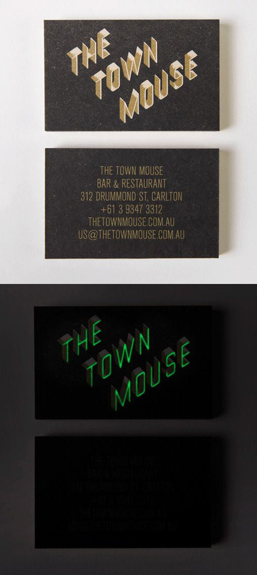 Creative typography on a glow in the dark business card for a creative typography on a glow in the dark business card for a restaurant colourmoves