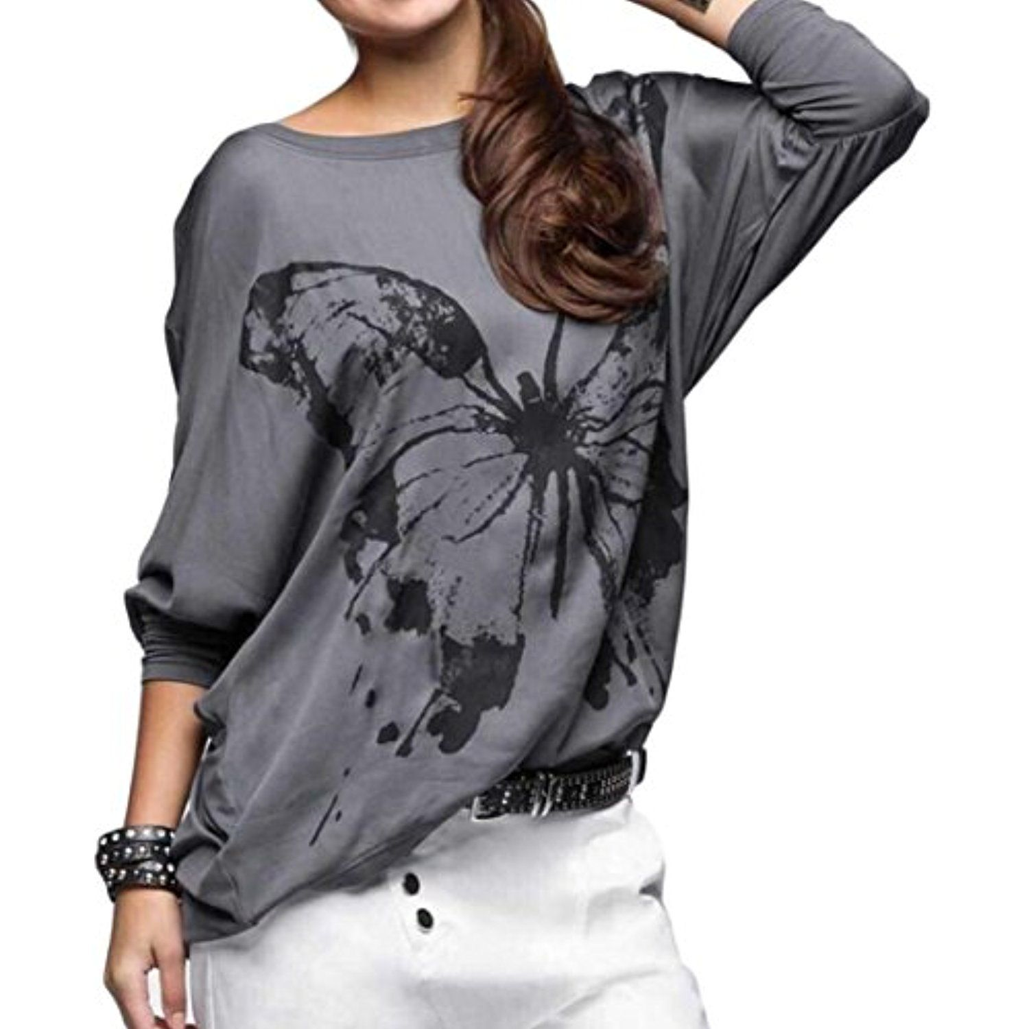 Womens comfy butterfly print bat sleeve loose pullover sweatshirt
