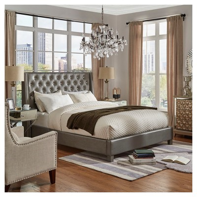c2ba6d7f396a Rosalyn Crystal Tufted Wingback Bed King Metallic Grey - Inspire Q Tufting-bett