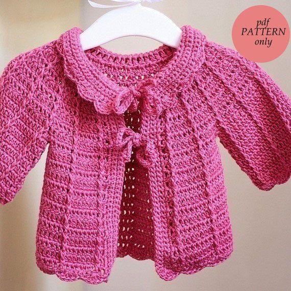 Crochet Pattern Candy Pink Baby Cardigan Crochet Numerous