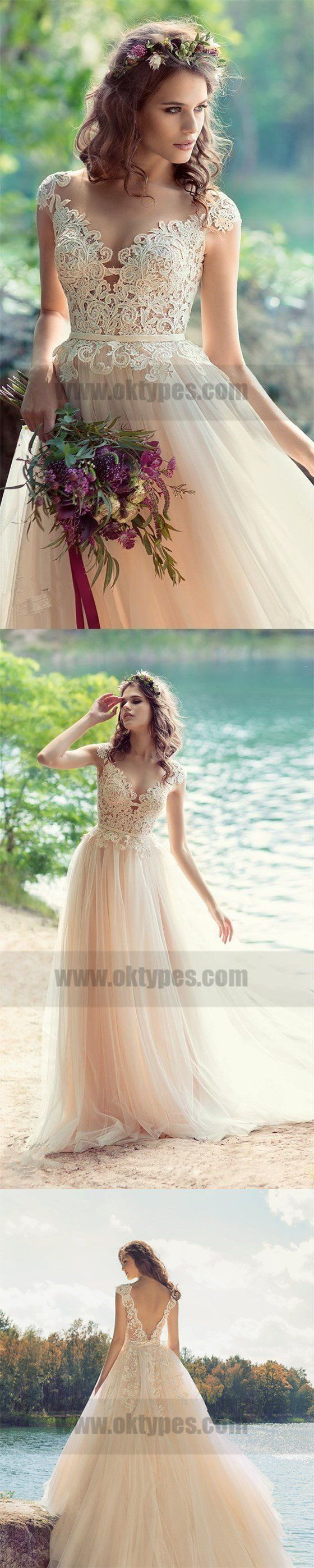 Lace top vback cup sleeve tulle beach wedding dresses wedding
