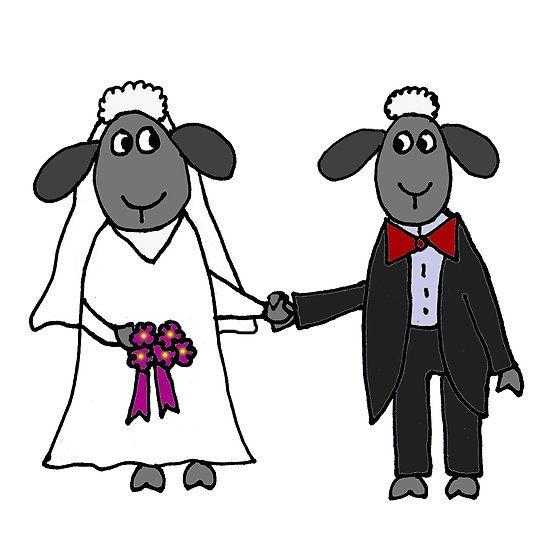 Cool Funny Sheep Bride and Groom Wedding Art
