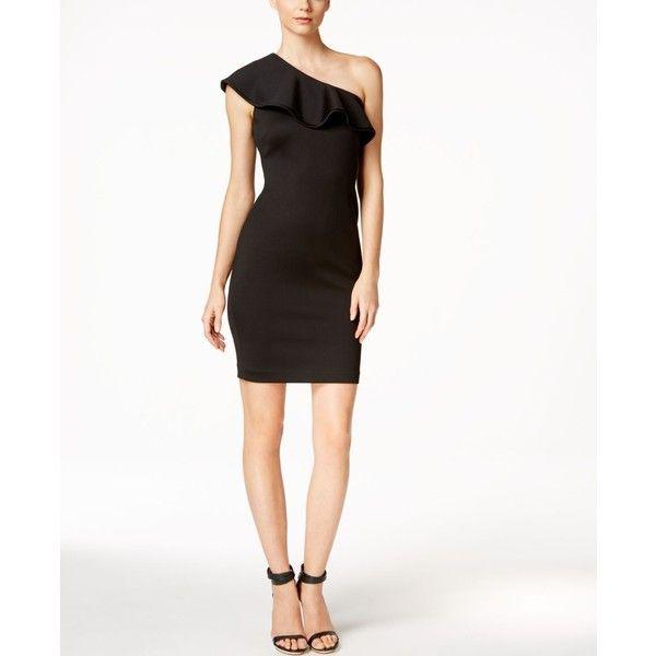Calvin Klein Ruffled One-Shoulder Sheath Dress ($134) ❤ liked on ...