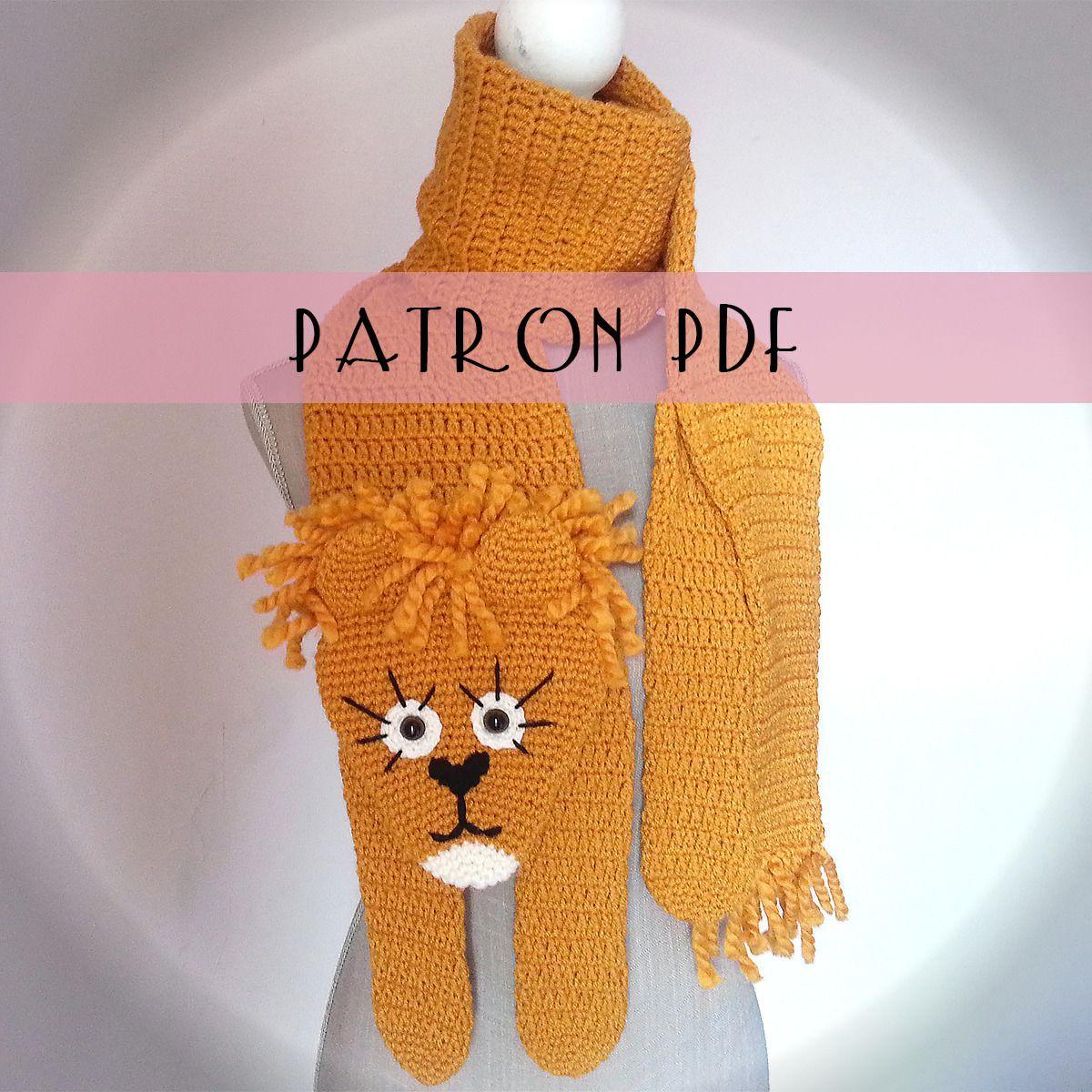 Patron écharpe lion au crochet   patron PDF   anglais et français   DIY    chunky crochet lion scarf pattern b5bcffbff7f