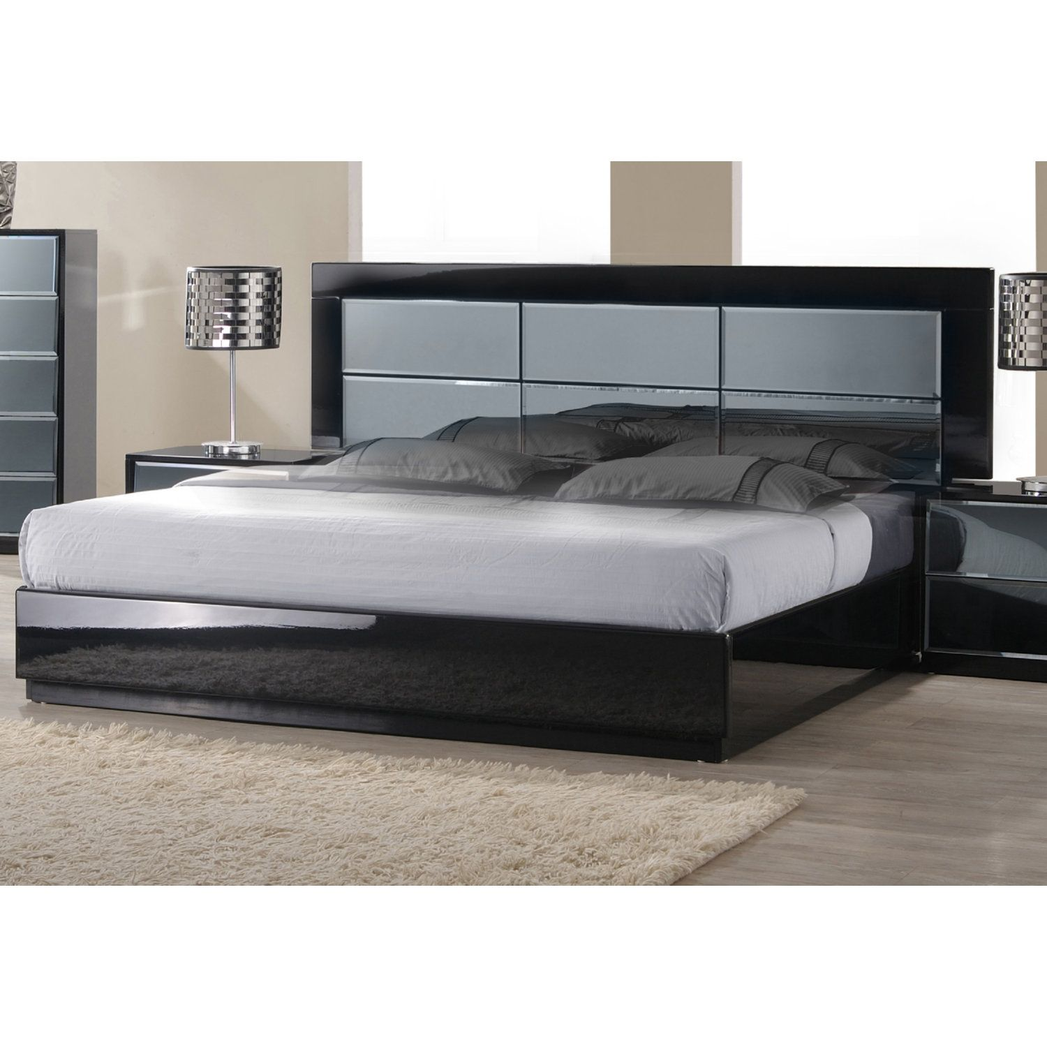 Chintaly Imports VENICE-BED-QN-FBSR-HB-SLT Venice Queen Bed High Gloss Black w/ Blue Glass