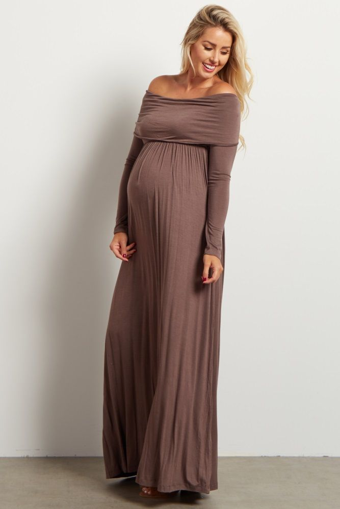 12d6d52a383f4 Mocha Cowl Neck Long Sleeve Maternity Maxi Dress in 2019 | maternity ...