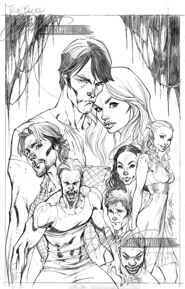 TRUE BLOOD: #1 Cover (IDW) Comic Art - J Scott Campbell