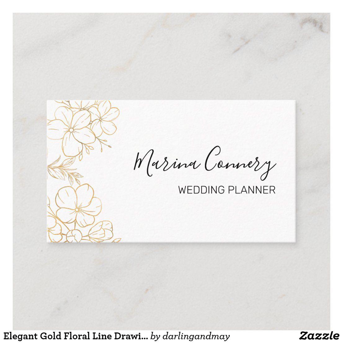 Elegant gold floral line drawing wedding planner business