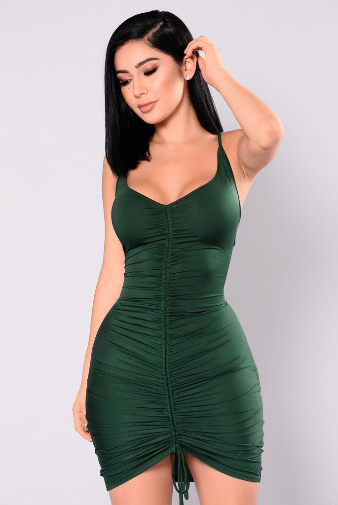 a4a59e0823 Shanghai Ruched Dress - Hunter Green