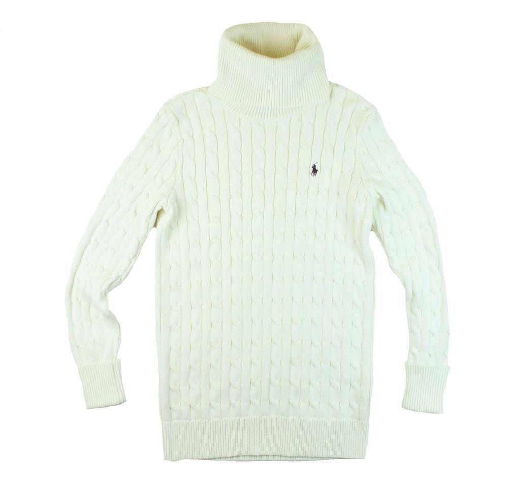 RALPH LAUREN Size M Ivory Cotton Long Cable Knit Turtleneck ...