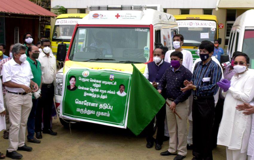 30 mobile Bus dispensaries implemented to Omandurar Govt. Hospital by Health Secretary Dr J Radhakrishnan IAS,  GCC Commissioner G Prakash IAS along with Promod Chordia