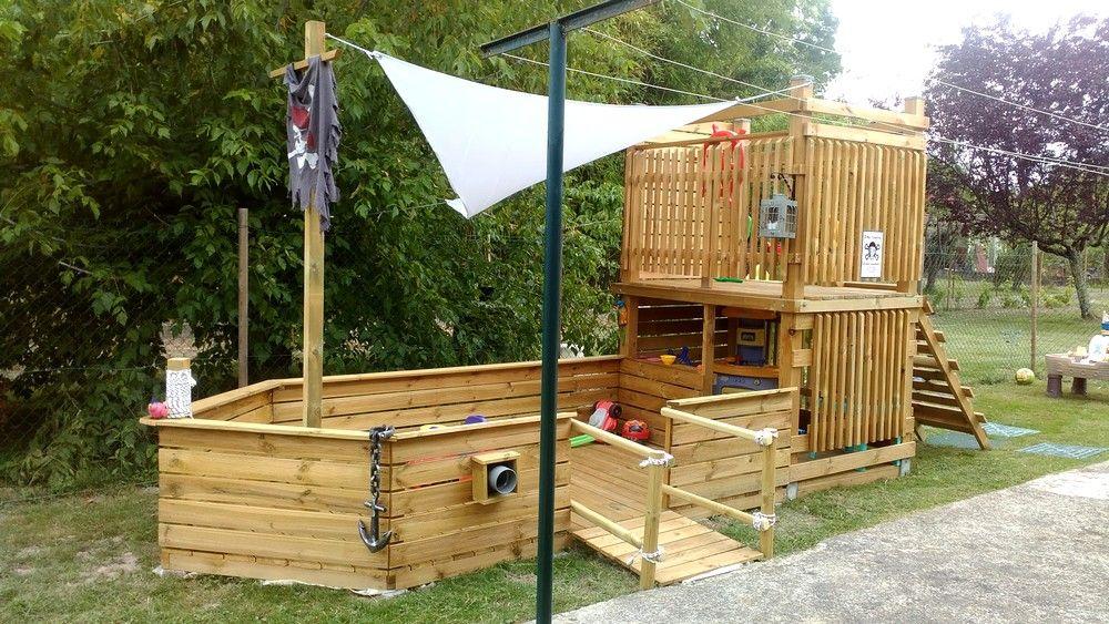 cabane bateau pirate construction de la passerelle cabane aire de jeux