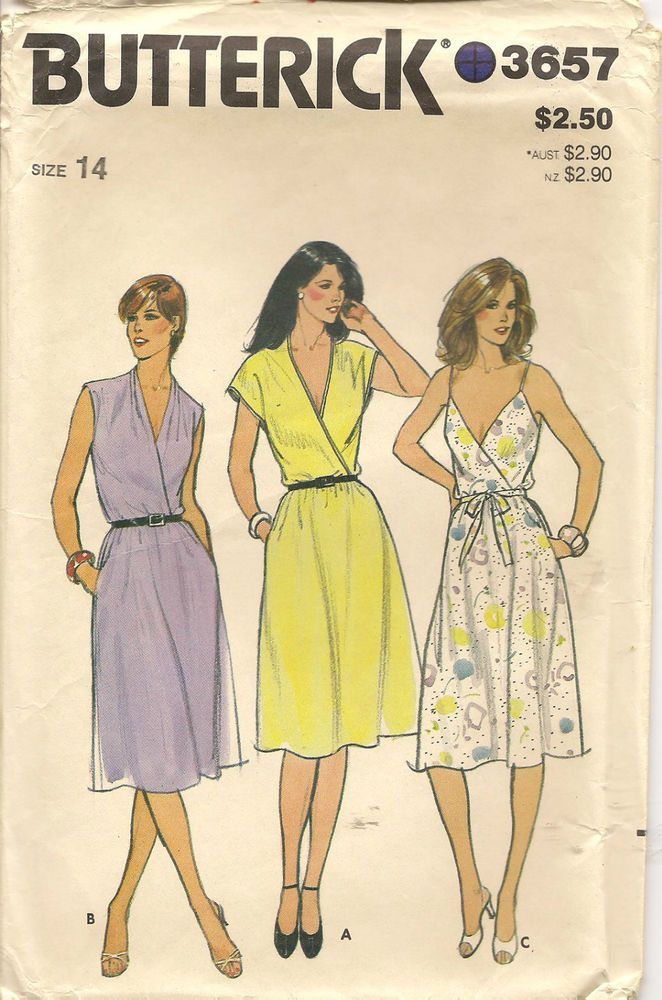 Vintage Butterick 3657 Front Wrap Dress Sewing Pattern Size 14 Butterick Dress Patterns Vintage Clothes Patterns Wrap Dress Sewing Patterns