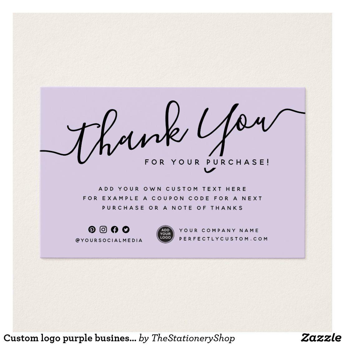 Custom Logo Purple Business Thank You Insert Card Zazzle Com In 2021 Thank You Card Design Cosmetic Business Cards Small Business Cards