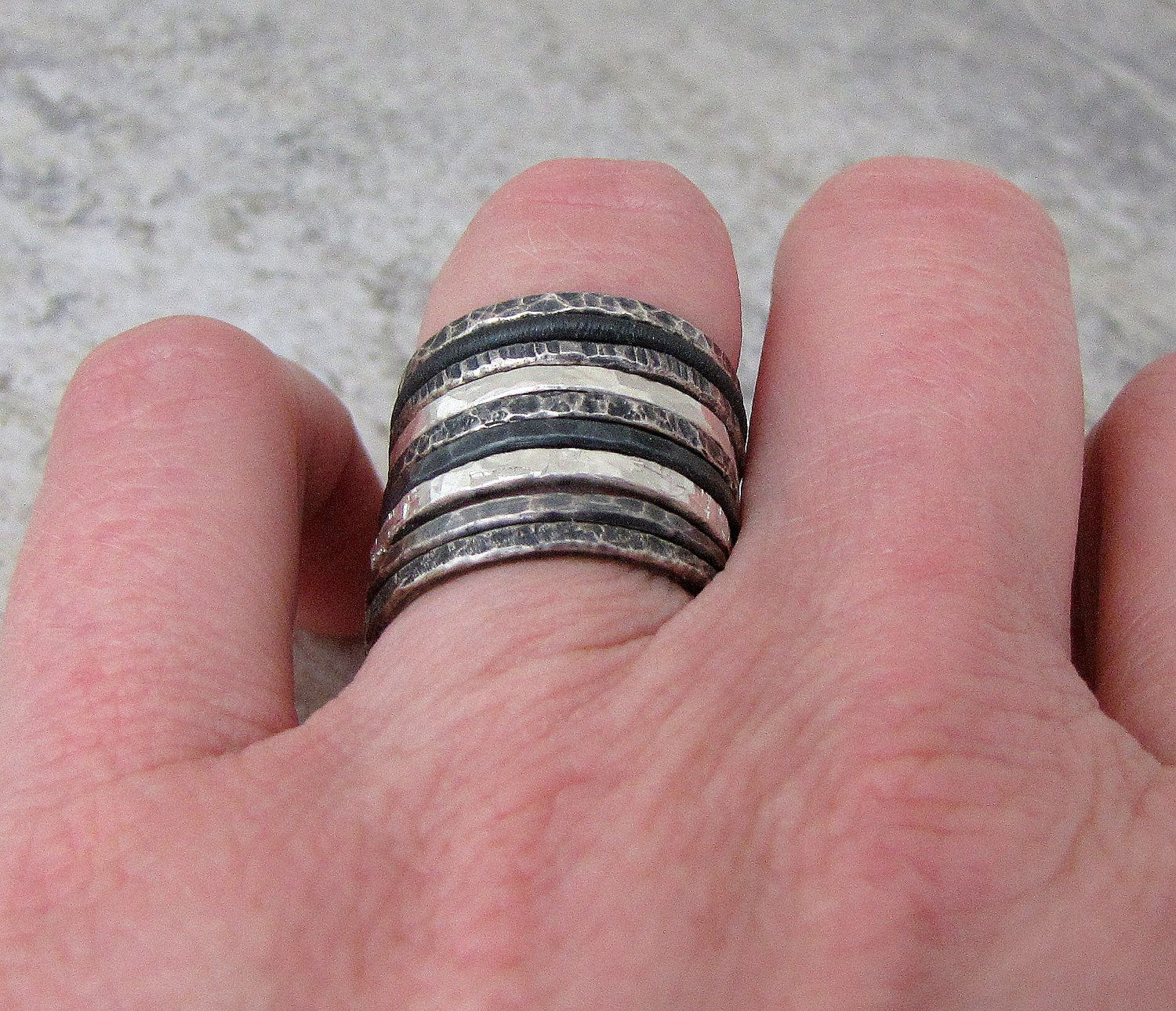 Stacking Rings Hammered Silver Ring Stack Black by SilverSmack ...