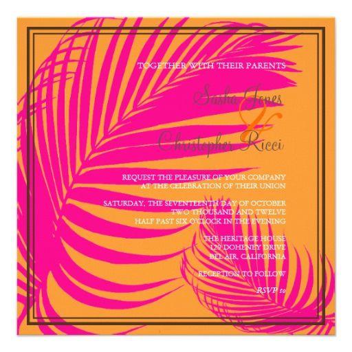PixDezines Palm Fronds, Mandarin Orange/Pink Invite