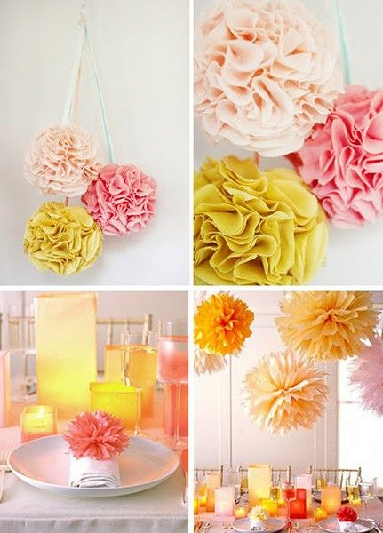 My mom just made some poms like these for my sister-in-law's baby shower. . .super cute! Great for party decorations and/or a child's room.