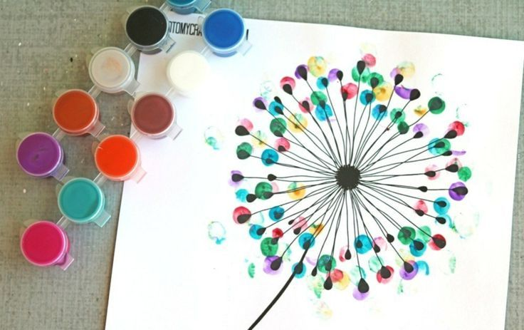 fingerabdruck bilder vorlage-pusteblume-bunt-idee-diy-erwachsene-kinder #gesteckeallerheiligen