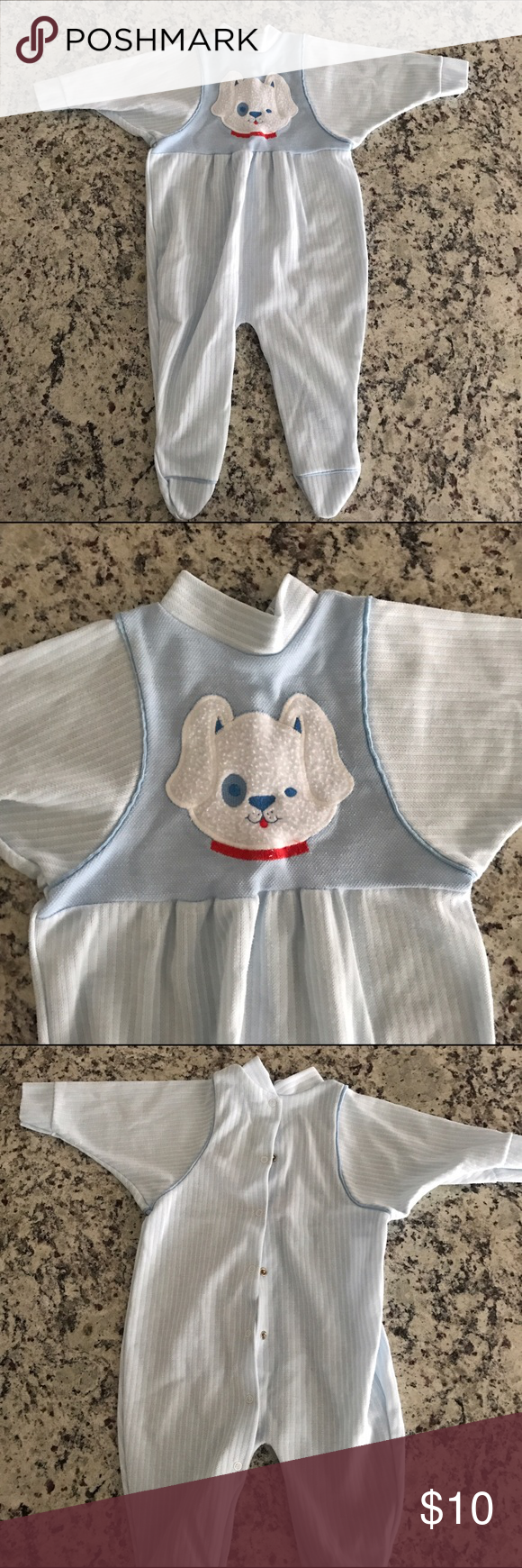 6-12mo Blue Footie One Piece with Puppy Adorable and warm footie one piece with fuzzy puppy dog. Buttons down back for easy change Gerber One Pieces Footies