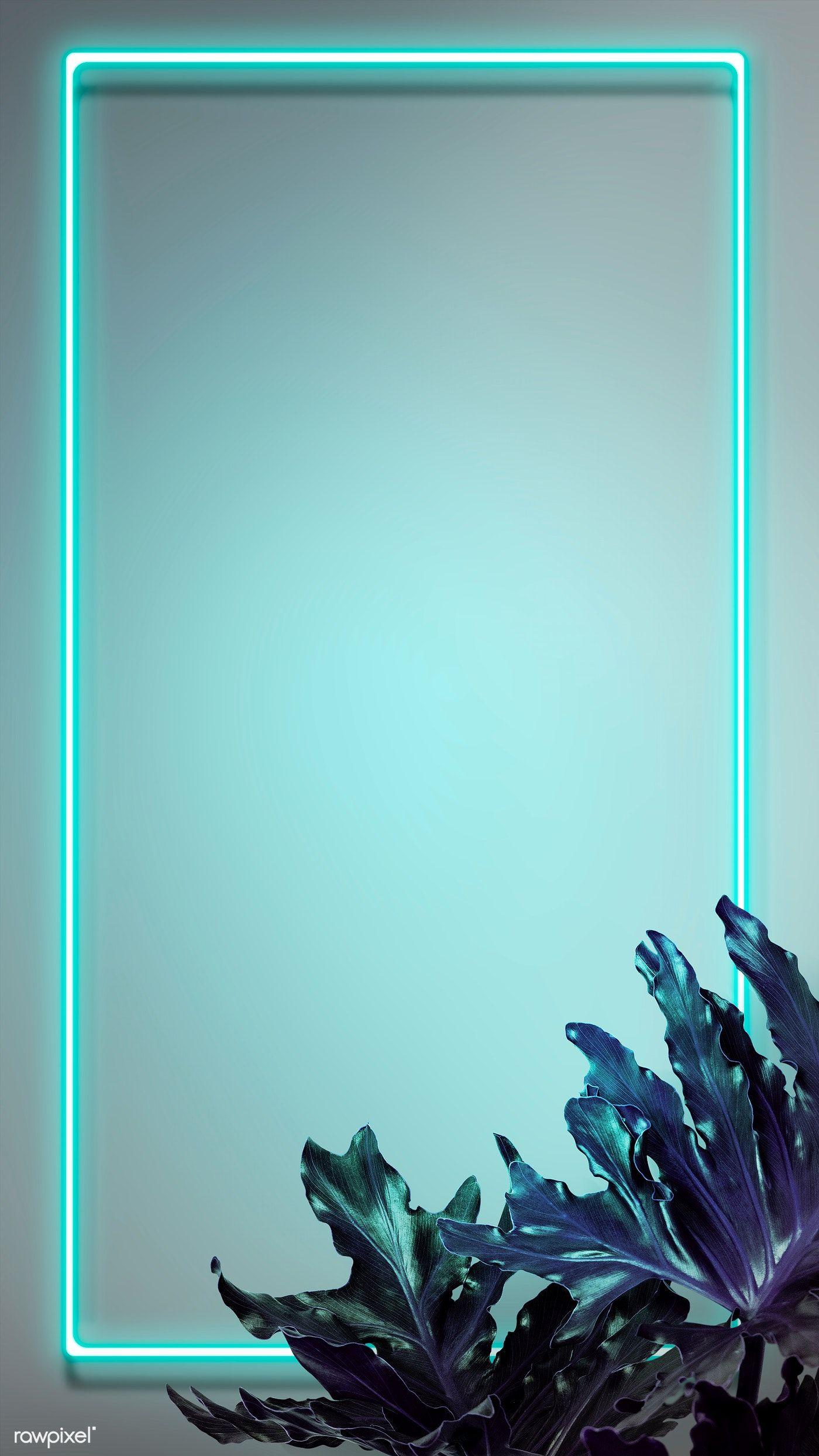 Download premium illustration of Tropical green neon lights phone screen