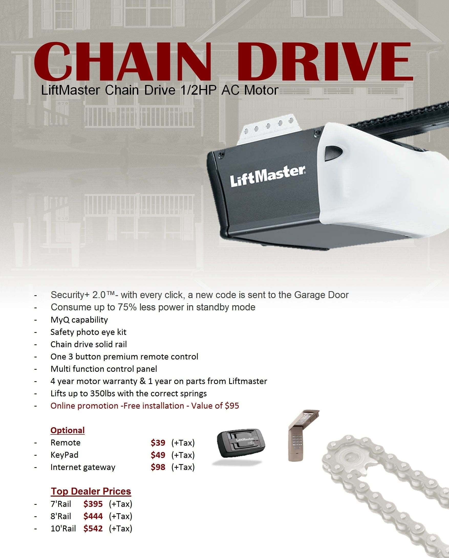 Stylish Liftmaster 8 Foot Garage Door Opener Intended For Encourage