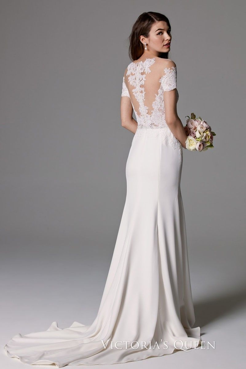 Sexy sheer offtheshoulder ivory lace and satin mermaid court train