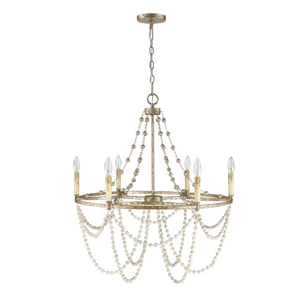 Isabelle 6 Light Chandelier Distressed Silver Leaf And Driftwood White Chairish Silver Light Fixture Chandelier Lighting Dining Chandelier