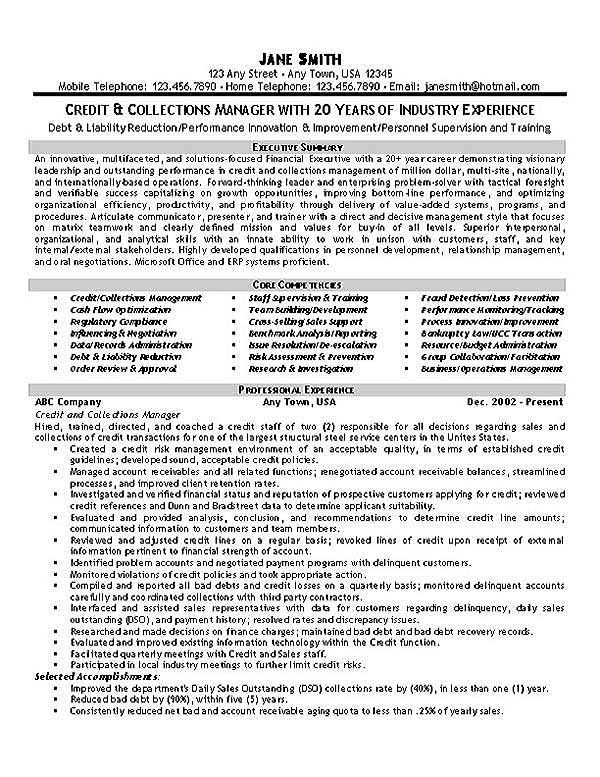 Collections Credit Manager Resume Examples Resume Tips Resume