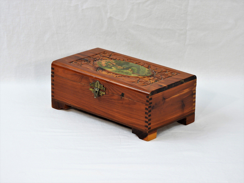 RARE ANTIQUE Carved Wooden Jewelry Box Keepsake Box Storage Box Treasure Box Jewelry Box