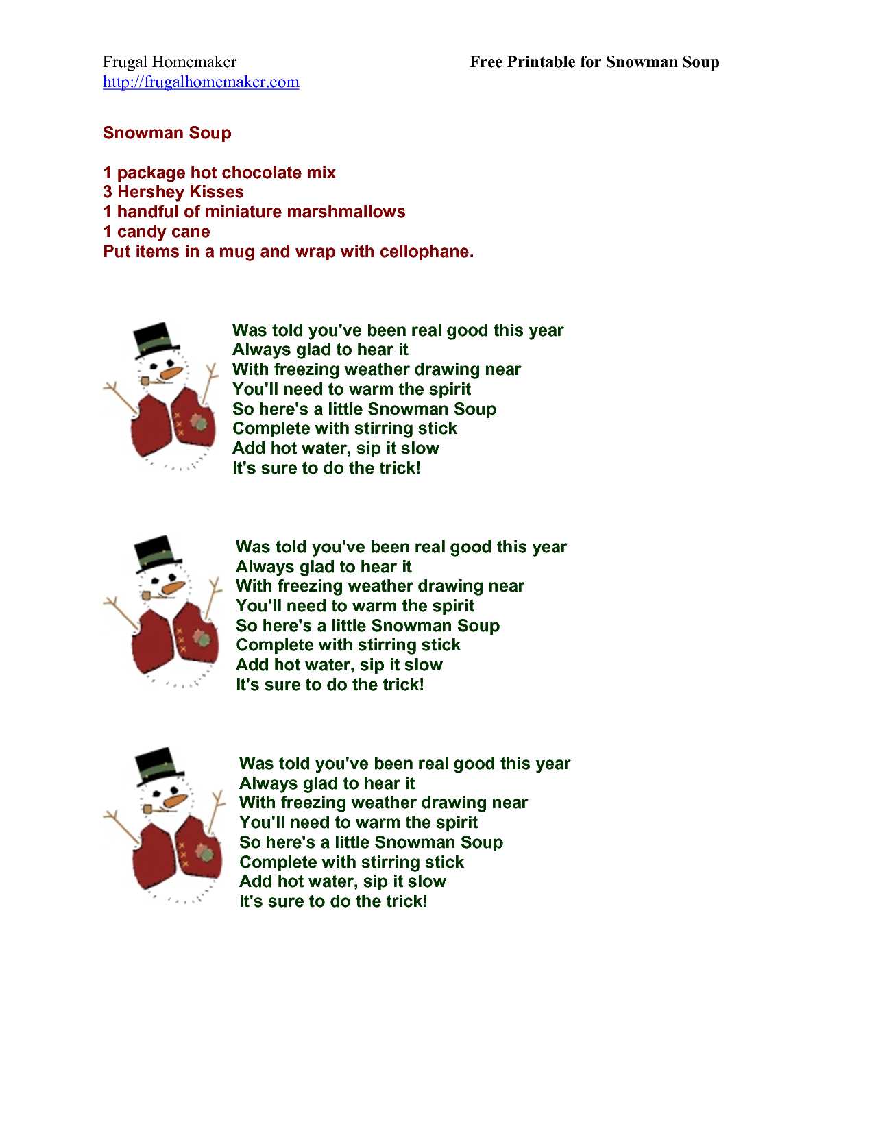 snowman soup poem | Snowman Soup Gift Tag | Snowman soup ...