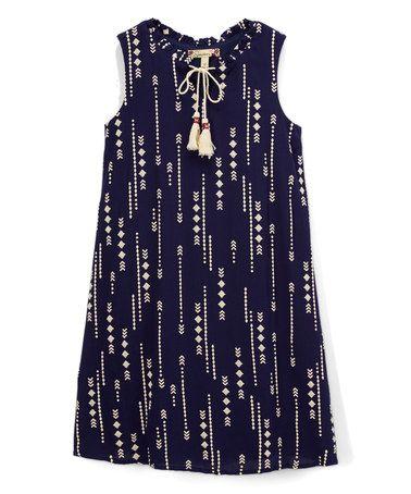 Look at this #zulilyfind! Navy & Ivory Arrow Tassel-Accent Shift Dress #zulilyfinds