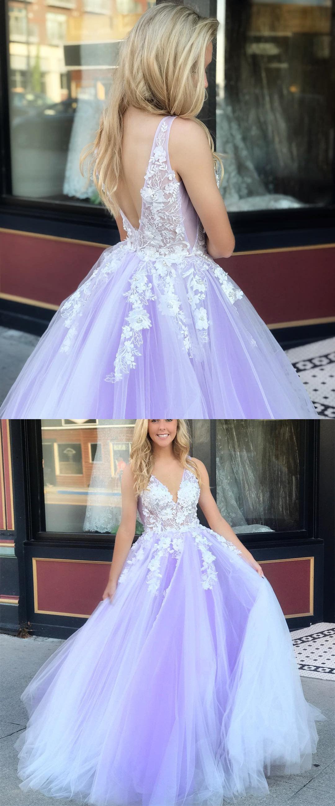 6e94c64e9911 princess lavender tulle long prom dress with white lace, 2019 prom dress,  elegant formal evening dress