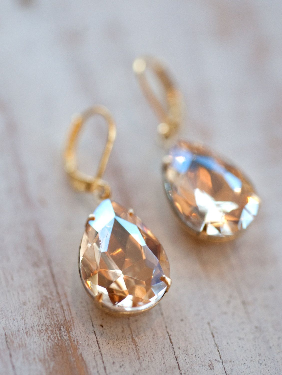Champagne Gold Estate Style Vintage Earrings Wedding Jewelry Bridal Earrings  $2200, Via Etsy