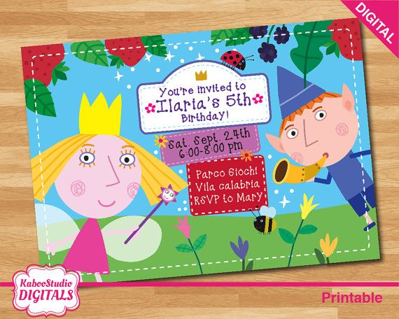Digital ben and holly personalized birthday party invitation digital ben and holly personalized birthday party invitation print yourself or send it by whatsapp stopboris Images