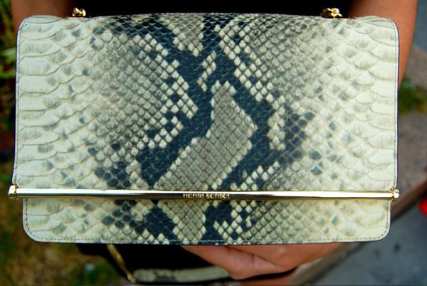 Henri Bendel Snake Print Park Avenue Convertible Bag with Gold Hardware