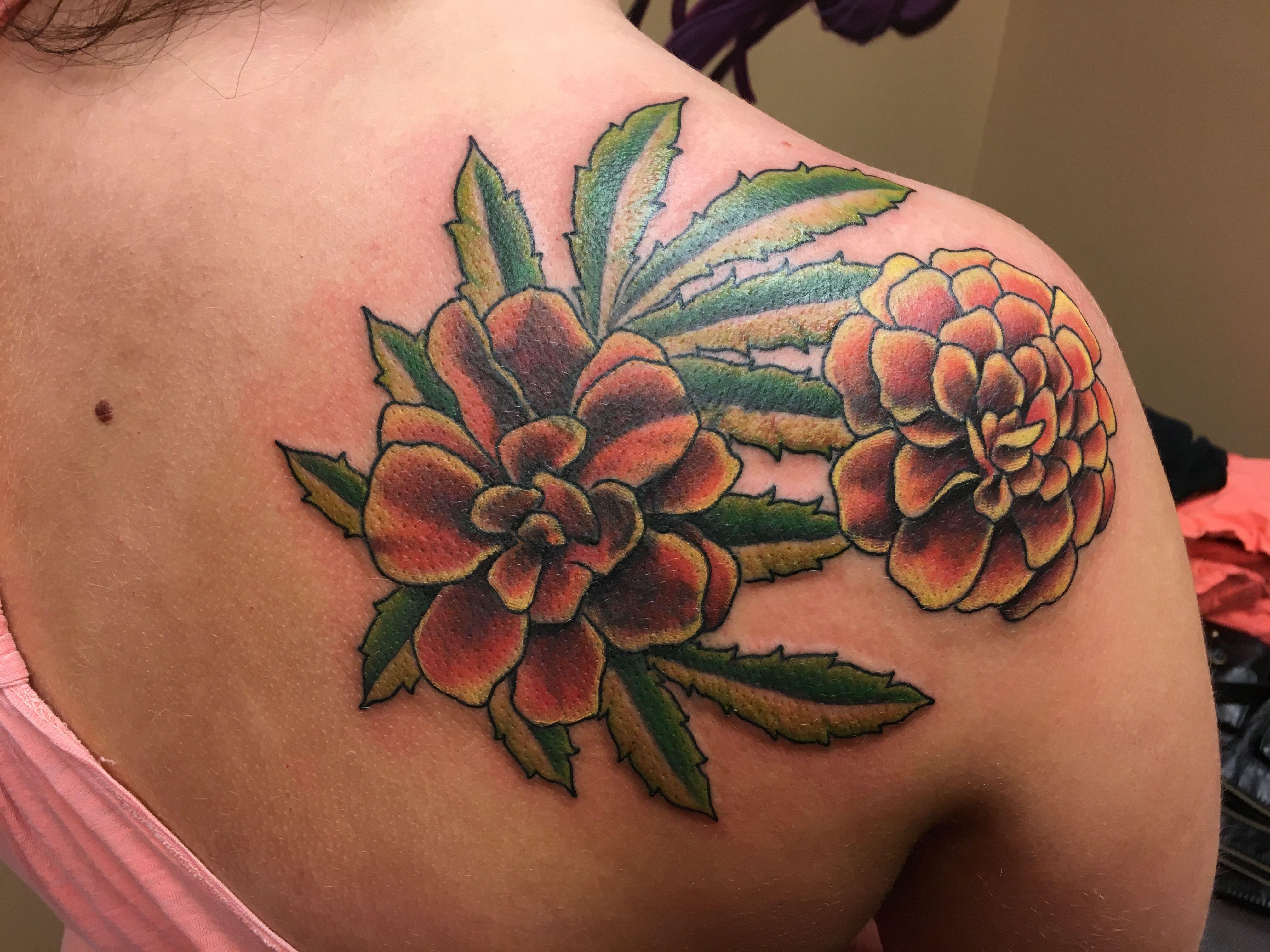 Marigold tattoo coverup