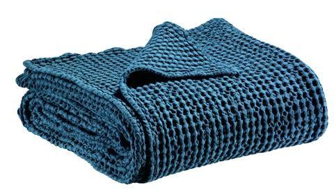 Hbc Bout De Lit Plaid Coton Naga Bleu Outremer 90x240 Cm Jete De Lit Plaid Canape Bout De Lit
