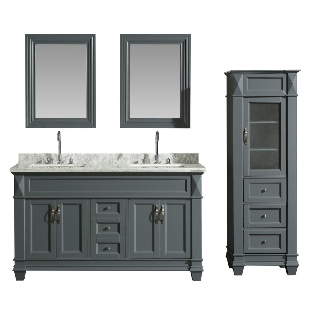 Design Element 61 In W X 22 In D Bath Vanity In Gray With Marble