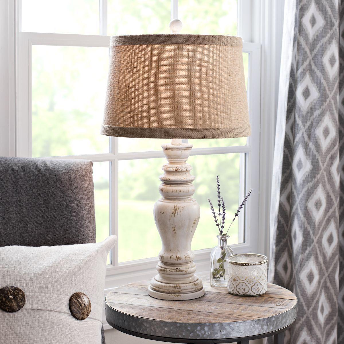 Rustic Distressed Cream Table Lamp in 2020 Farmhouse