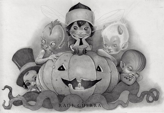 """RAUL GUERRA    """" Ghouls Halloween"""". Drawing on sketch paper. (Graphite on paper). 29.7 X 42cm"""