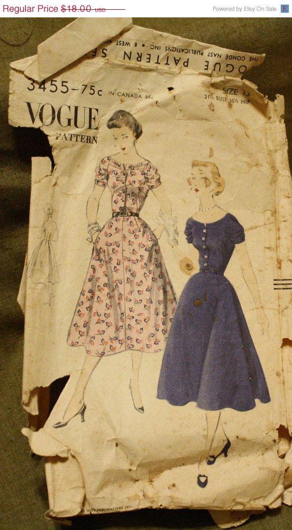 Vogue 3455 Vintage 1950s Dress Sewing Pattern Size 13 Bust 31 1/2 ...