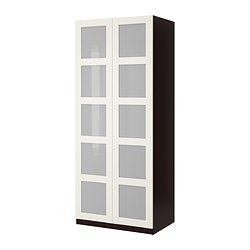 Ikea pax bergsbo frostglas  PAX Wardrobe with 2 doors - Bergsbo frosted glass/white, black ...
