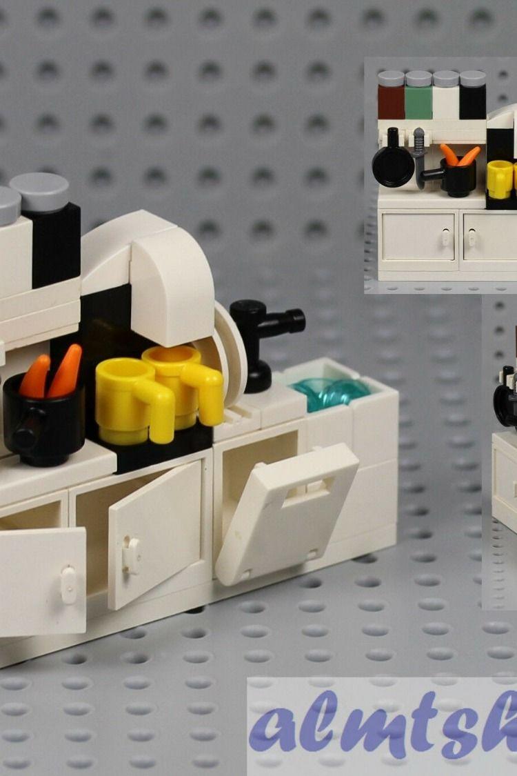 Lego Kitchen Cupboard W Sink Dishwasher Coffee Maker Cabinet Minifigure Food Lego Kitchen Lego Furniture Lego Diy
