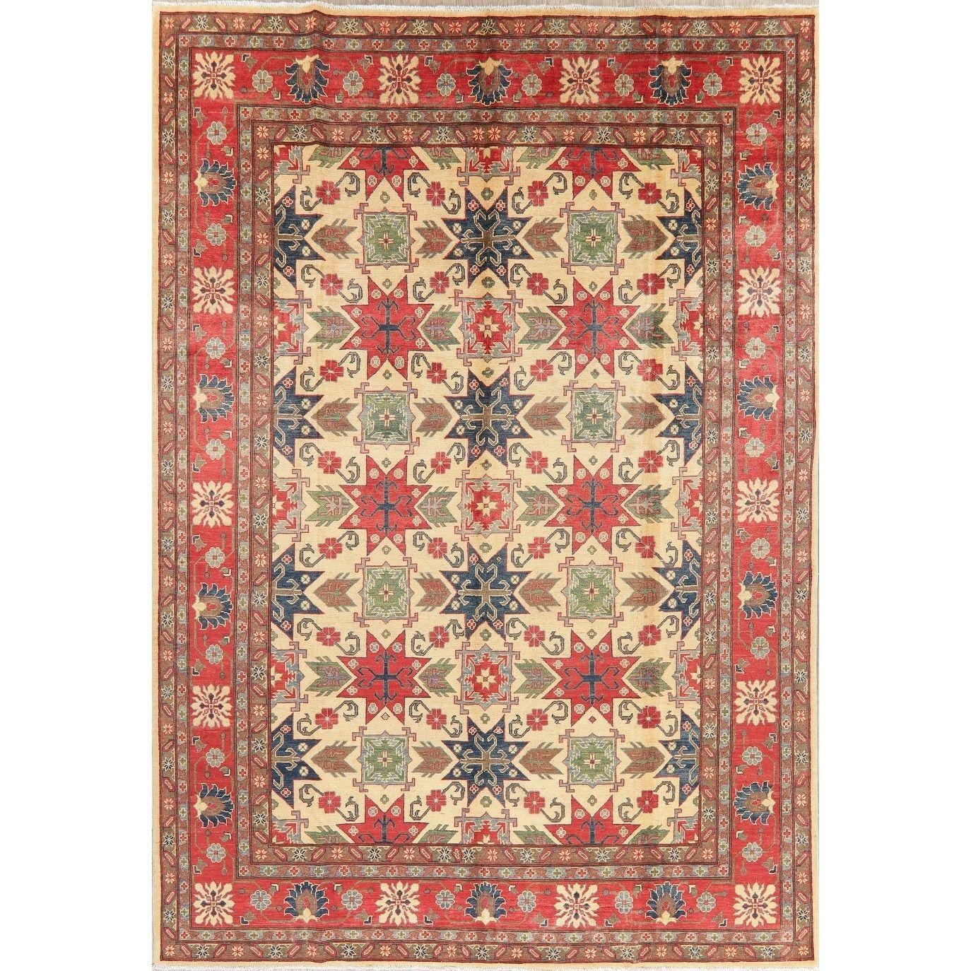 Kazak Oriental Hand Knotted Wool Pakistani Area Rug 12 4 X 8 7