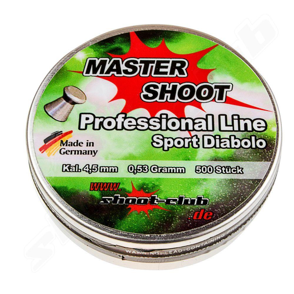 """MASTER SHOOT - Professional Sport Diabolos im Kaliber 4,5mm     Hochwertige Trainingsmunition aus deutscher Produktion für Luftgewehre, Luftpistolen und CO2 Waffen. Dieser glatte Flachkopfdiabolo eignet sich besonders für Training und """"Plinking"""" (Freizeitschießen)."""