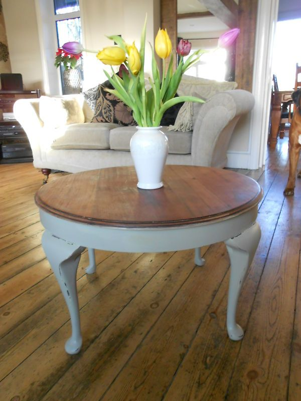 Vintage Shabby Chic Round Coffee Side Table Cabriole Legs Painted Farrow Ball Shabby Coffee